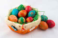 Free Easter Eggs In Decorative Basket Stock Photo - 90147110