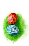 Easter Eggs In Nest On Green Stock Image