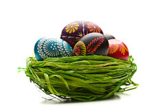 Easter Eggs In Nest On Green Royalty Free Stock Photography