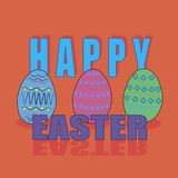 Easter eggs, inscription on an orange background. Bright festive picture Stock Photo
