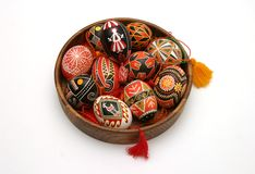 Easter Eggs Isolated On White. Traditional Ukrainian hand painted Easter eggs Royalty Free Stock Image