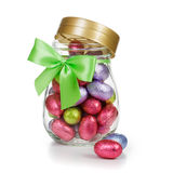 Easter eggs in jar Stock Images