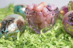 Easter Eggs and Jelly Beans Stock Images