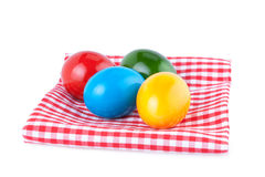 Easter Eggs on a Kitchen Napkin Royalty Free Stock Photo