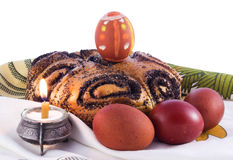 Easter eggs and kulich Royalty Free Stock Photos