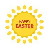 Easter eggs label illustration. Flat style.  royalty free illustration