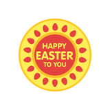 Easter eggs label  illustration. Flat style Stock Image