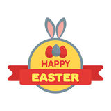 Easter eggs label  illustration. Flat style Stock Photos