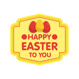 Easter eggs label illustration. Flat style.  stock illustration