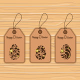 Easter eggs on labels. Set of three  tags with Easter eggs. Easter illustration Stock Photo