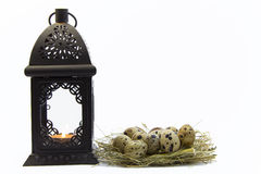 Easter eggs and lantern. Easter eggs in a bird's nest and lantern Stock Photos