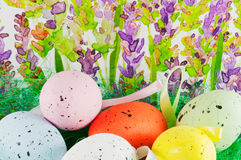 Easter eggs with lavender background Stock Image