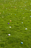 Easter eggs on lawn. Plastic Easter eggs spread out on lawn Royalty Free Stock Images