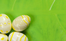 Easter Eggs on leaf Stock Photos