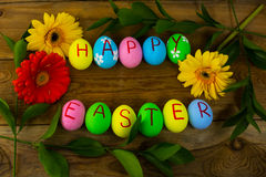 Easter eggs and leaves royalty free stock photo