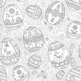 Easter eggs in leaves seamless pattern Royalty Free Stock Image