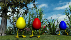Easter Eggs with Legs in the meadow Royalty Free Stock Images