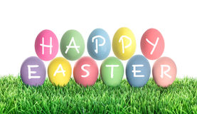 Easter eggs with letter HAPPY EASTER. Colorful decoration Stock Image