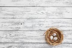 Easter eggs lie in a nest on the background of a light wooden table royalty free stock photos