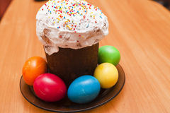 Easter eggs. Lie on a table waiting for Easter Stock Image