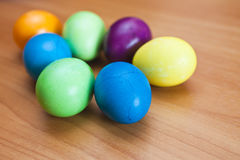 Easter eggs. Lie on a table waiting for Easter Stock Photo