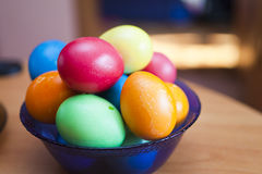 Easter eggs. Lie on a table waiting for Easter Stock Photography