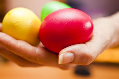 Easter eggs. Lie on a table waiting for Easter Royalty Free Stock Image