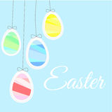 Easter eggs like balloons on a blue background Royalty Free Stock Images