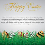 Easter eggs with lines in grass on a white shining background. W. Ith text.eps10 Stock Photos