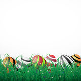 Easter eggs with lines in grass on a white shining background wi Stock Photography