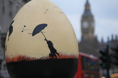 Easter Eggs in London city center - Marry Poppins. Easter Eggs put in different places of London city center. Eggs with different motives and decoration Royalty Free Stock Images