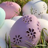 Easter eggs. Lot of Easter eggs pastel colors, white, pink, purple  and green in the garden a sunny day Royalty Free Stock Photo