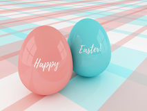 Easter eggs lying on plaid tablecloth with greetings Stock Image