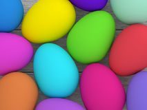 Easter eggs lying on wooden desk. Colored Easter eggs lying on wooden desk vector illustration