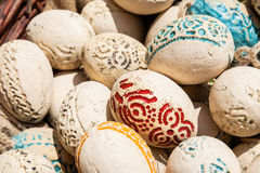 Easter eggs made of ceramics Stock Photos
