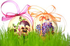 Easter eggs made by decoupage technique Royalty Free Stock Photo