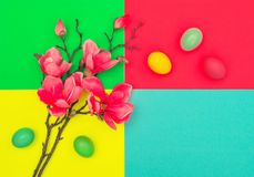 Easter eggs magnolia blossoms Spring flowers. Easter eggs and magnolia blossoms on colorful background. Spring flowers stock photo
