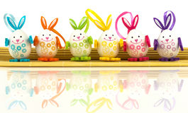 Easter eggs on mat Stock Photos
