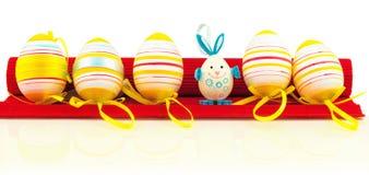 Easter eggs on mat Stock Photo