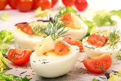 Easter eggs with mayonnaise and salmon Stock Images