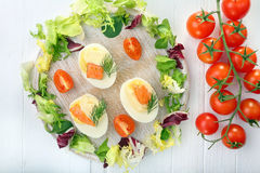 Easter eggs with mayonnaise and salmon Royalty Free Stock Photos