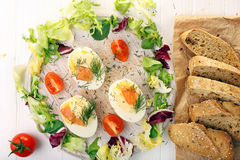Easter eggs with mayonnaise and salmon Stock Photography