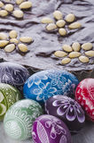 Easter eggs and mazurek traditional polish easter chocolate cake Royalty Free Stock Image