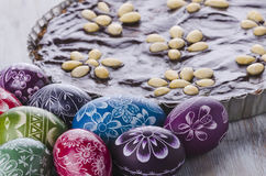 Easter eggs and mazurek traditional polish easter chocolate cake Stock Photo