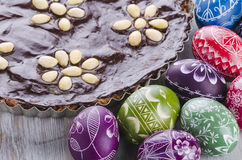 Easter eggs and mazurek traditional polish easter chocolate cake Stock Images