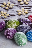 Easter eggs and mazurek traditional polish easter chocolate cake Royalty Free Stock Photo