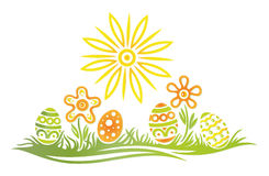 Easter, eggs, meadow. Colorful easter illustration, meadow with easter eggs Stock Images