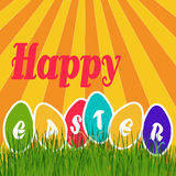 Easter eggs in the meadow. Happy Easter,Easter eggs in the meadow and rainbow glow vector illustration