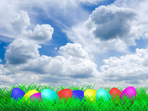 Easter Eggs on a meadow Royalty Free Stock Image
