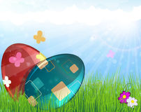 Easter eggs on meadow Stock Photography